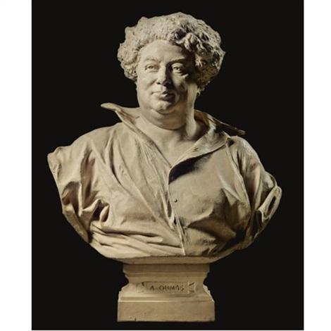 a bust of alexandre dumas père by henri michel antoine chapu