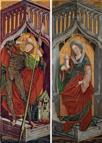 st. florian of lorch, left wing from an alterpiece (+ mary magdalene, right wing from an altarpiece; pair) by friedrich pacher