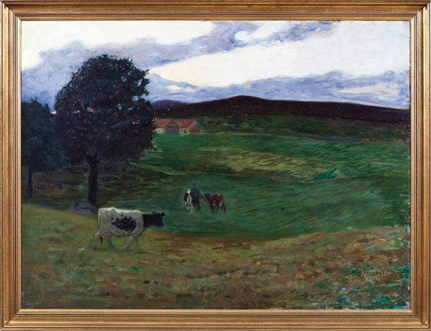landskap med kyr by august jacobsen