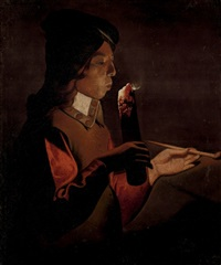 a young boy with a pipe, blowing on a firebrand by georges de latour