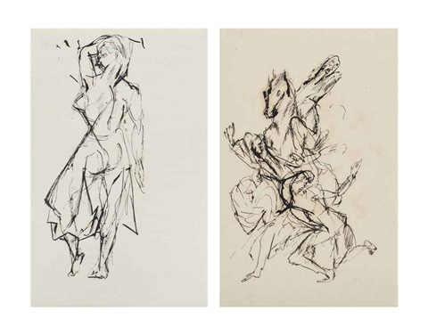 standing woman and running woman and horse 2 works by otto gutfreund