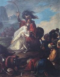 la soeur mathilde implorant le cheik malek adhed au temps des croisades by cesare mussini