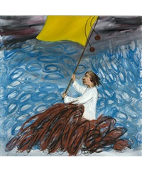 человек с желтым флагом by yuri leiderman
