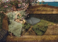 in a rose garden by sir lawrence alma-tadema