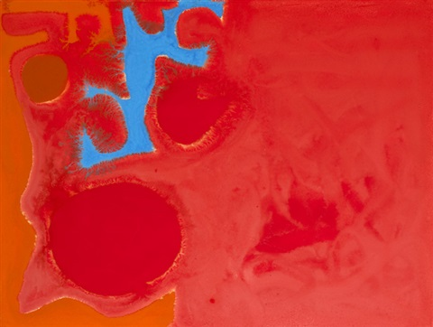 ceruleum fragment in reds june by patrick heron