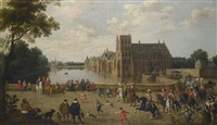 the princes of orange leaving the buitenhof and passing the western side of the hofvijver in the hague by joost cornelisz droochsloot