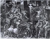 les grecs entrant dans la ville de troye, énée se sauvant... by giovanni battista ghisi