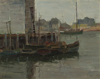 gray day, rockport harbor, cape ann, mass by ferdinand kaufmann