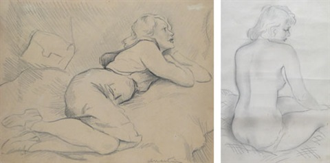 woman lying nude sitting 2 works by ion valentin anestin