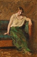 a female model sitting in a sofa by julius paulsen
