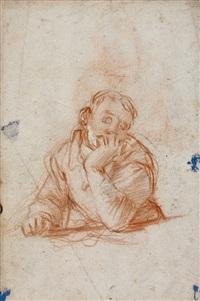 jeune rêveur accoudé (+ jeune homme étudiant à une table; verso) by giovanni battista di matteo naldini
