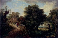 figure on a path by a pond by james (sillet) sillett