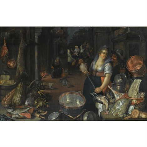 a kitchen still life with a maid and her admirer next to a table with dead hares fowl bread rolls a basket with fruit and copper pots and pans on another table an earthenware plate with fish cabbages and artichokes the return of the prodigal son in by cornelis jacobsz delff