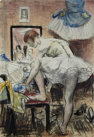 tying her shoes by dame laura knight