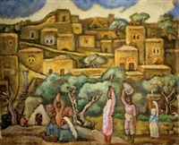 women in a landscape by arieh allweil