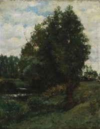 cows and figure resting by the river, grez, france by kenyon c. cox