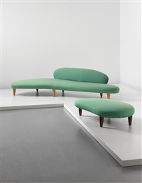 rare cloud-form sofa, model no. in-70, and cloud-form ottoman, model no. in-71 by isamu noguchi