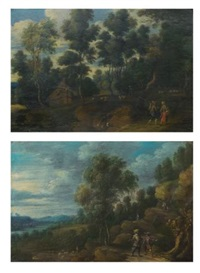 a landscape with shepherds on a path; a wooded landscape with figures on a path (pair) by lucas van uden