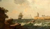 navires et barques en danger dans un estuaire by alexandre jean noel