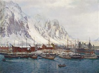 winter in svolvoer harbour by karl ouren
