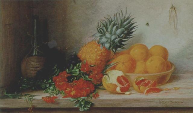 stilleben mit goldlack ananas und orangen by alfrida baadsgaard