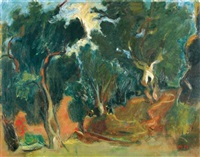 figure and donkey in a grove by nachum gutman