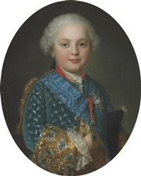a portrait of a child of the royal family, half-length, wearing the order of the holy spirit and the order of the golden fleece, thought to be charles philippe of france by françois hubert drouais