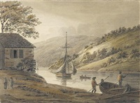 on the river tamar, from calstock passage looking up by hubert cornish