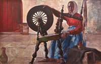 woman at a spinning wheel by maurice macgonigal