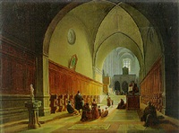 worshippers in a church aisle, italy by jodocus sebastiaen van den abeele