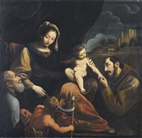 sacra famiglia con san giovannino e san francesco by alessandro tiarini