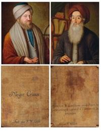 portrait de abraham ben raphael lonzano (+ portrait de rabbi meir crescas; pair) by f.w. güte