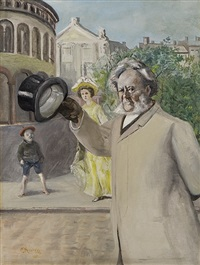 portrait of henrik ibsen on karl johan street by christian krohg