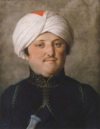 a portrait of a gentleman in turkish costume and turban by johann heinrich schmidt