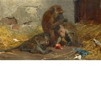 monkeys in a barn by paul friedrich meyerheim