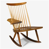 lounge chair rocker with free-form arm by mira nakashima-yarnall