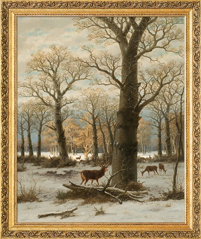 roe deers in winter by caesar bimmermann