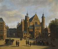 a view of the binnenhof in the hague with the ridderzaal by gerrit adriaensz berckheyde