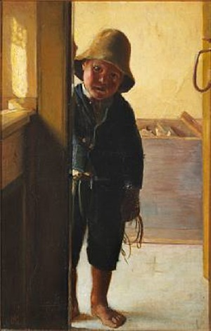 a fishermans son looking through a doorway by michael peter ancher