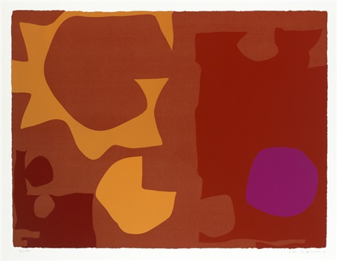 six in vermilion with violet in red by patrick heron