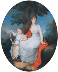 portrait of a princess of württemberg with her daughter by johann lorenz kreul