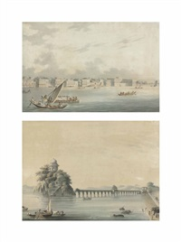 the hooghly river at chinsurah, west bengal (+ the mausoleum at etmadpur, agra; 2 works) by continental school (19)