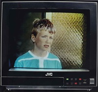 boy on tv, from: eviction struggle by jeff wall