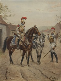 cuirassier à cheval by jules antoine voirin