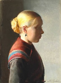 ung pige. a young girl from skagen with her hair in a knot and with an earring by michael peter ancher