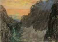 zachód słońca nad górską doliną by casimir stabrovsky