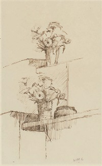 flowers on a mantelpiece (+ 2 others; 3 works) by william coldstream