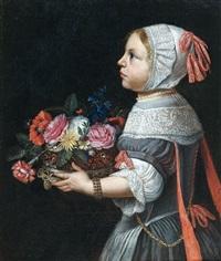 jeune fille portant une corbeille de fleurs by abraham lambertsz jacobsz van den tempel