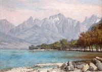 evian les bains, lac de genève by william baptiste baird