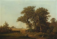 a cottage near old oak trees and cornfields by peter (johann p.) raadsig